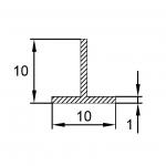 Тавр алюминиевый 10x10x1 / AS