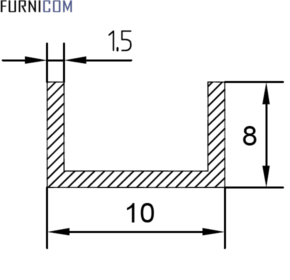Швеллер алюминиевый 10х8х1.5 / AS