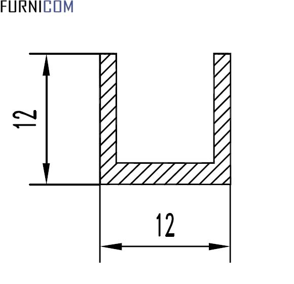 Швеллер алюминиевый 12х12х1.5 / AS