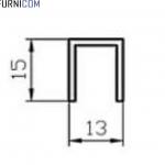 Швеллер алюминиевый 13х15х1.5 / AS