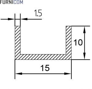 Швеллер алюминиевый 15х10х1.5 / AS