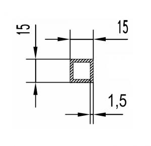 Труба алюминиевая квадратная 15х15х1.5 / AS