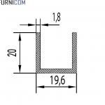 Швеллер алюминиевый 19.6х20х1.8 / AS