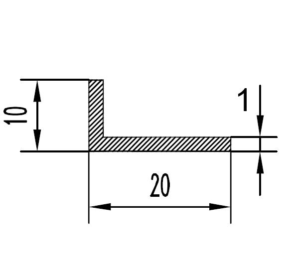 Уголок алюминиевый 20х10х1 / AS