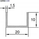 Швеллер алюминиевый 20х10х1.5 / AS