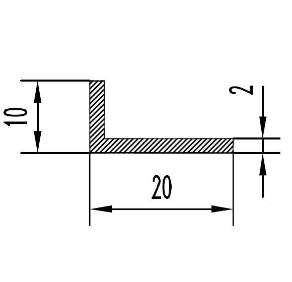 Уголок алюминиевый 20х10х2 / б.п.