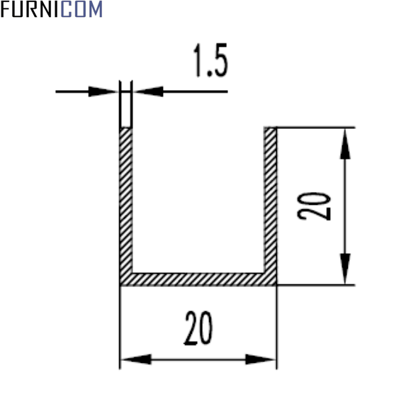 Швеллер алюминиевый 20х20х1.5 / б.п.
