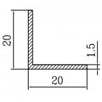 Уголок алюминиевый 20х20х1.5 / б.п.