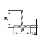 Тавр алюминиевый 20x20x1.5 / AS