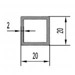 Труба алюминиевая квадратная 20х20х2 / б.п.