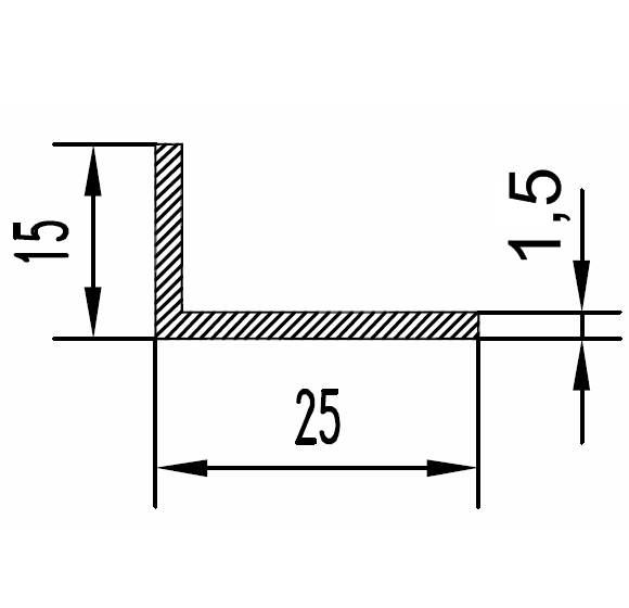 Уголок алюминиевый 25х15х1.5 / б.п.