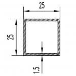 Труба алюминиевая квадратная 25х25х1.5 / AS