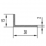 Уголок алюминиевый 30х15х2 / б.п.