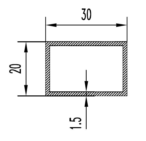 Труба алюминиевая прямоугольная 30х20х1.5 / б.п.
