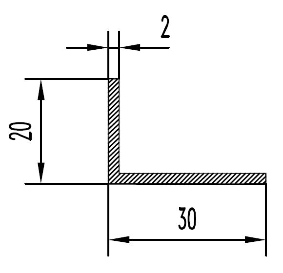 Уголок алюминиевый 30х20х2 / б.п.