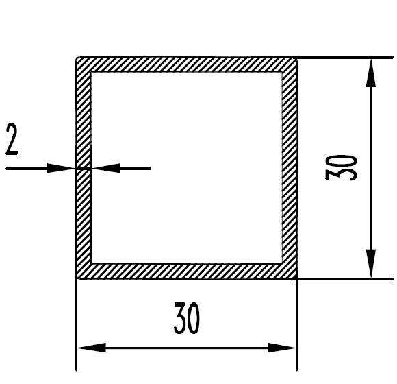 Труба алюминиевая квадратная 30х30х2 / AS
