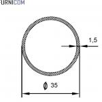 Труба алюминиевая круглая 35х1.5 / AS