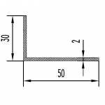 Уголок алюминиевый 50х30х2 / AS