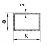 Труба алюминиевая прямоугольная 60х40х3 / б.п.