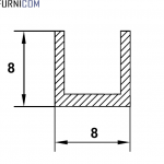Швеллер алюминиевый 8х8х1 / AS