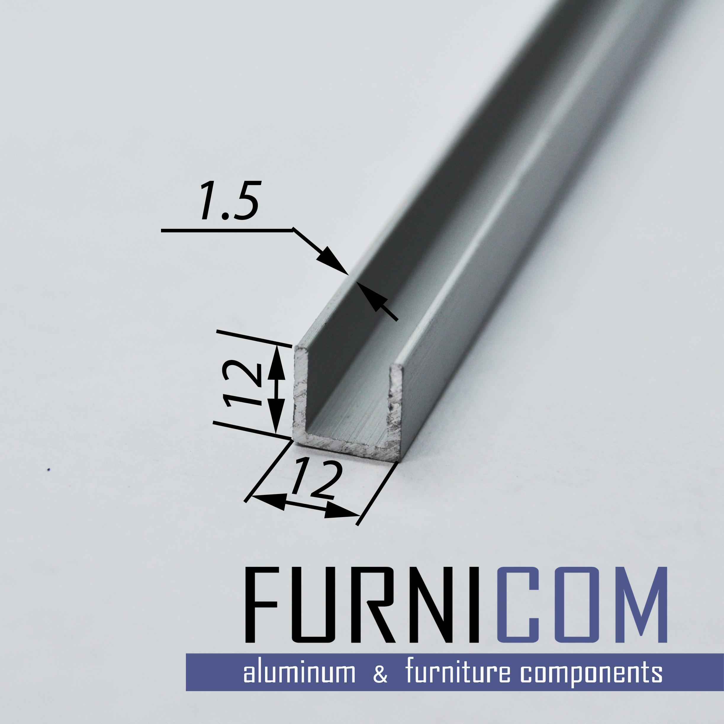 Швеллер алюминиевый 12х12х1.5 / б.п.