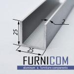 Швеллер алюминиевый 25х25х2 / AS