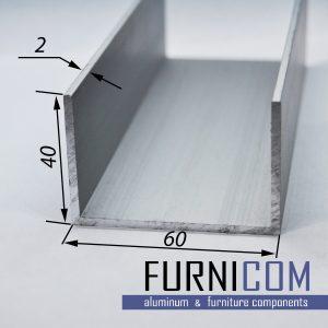 Швеллер алюминиевый 60х40х2 / AS