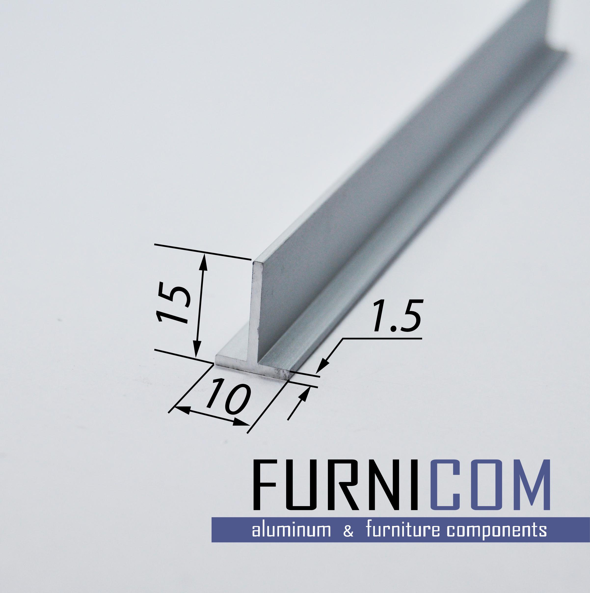 Тавр алюминиевый 15x10x1.5 / AS