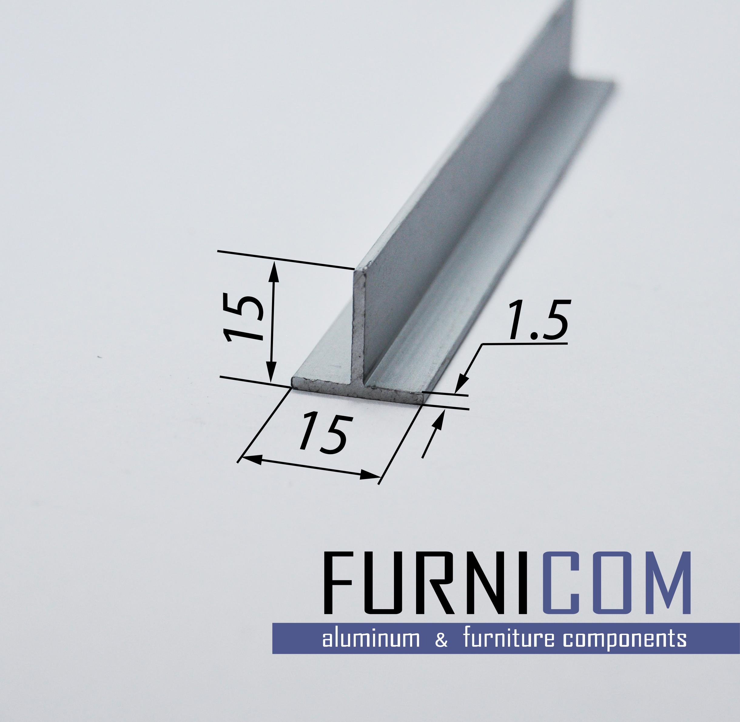 Тавр алюминиевый 15x15x1.5 / AS