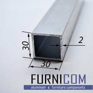 Труба алюминиевая квадратная 30х30х2 / б.п.