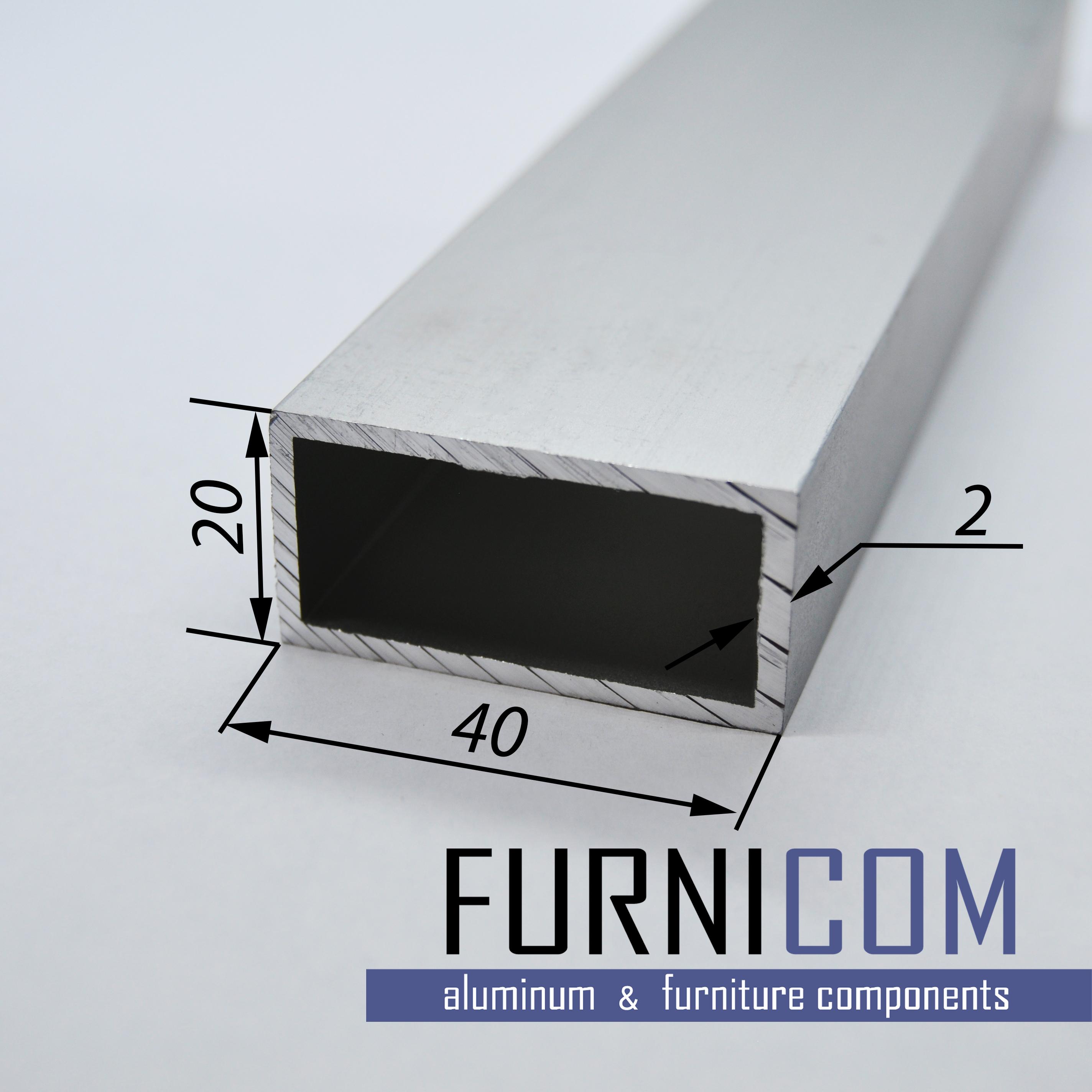 Труба алюминиевая прямоугольная 40х20х2 / AS