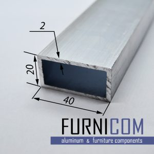 Труба алюминиевая прямоугольная 40х20х2 / б.п.