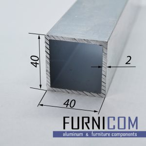Труба алюминиевая квадратная 40х40х2 / б.п.