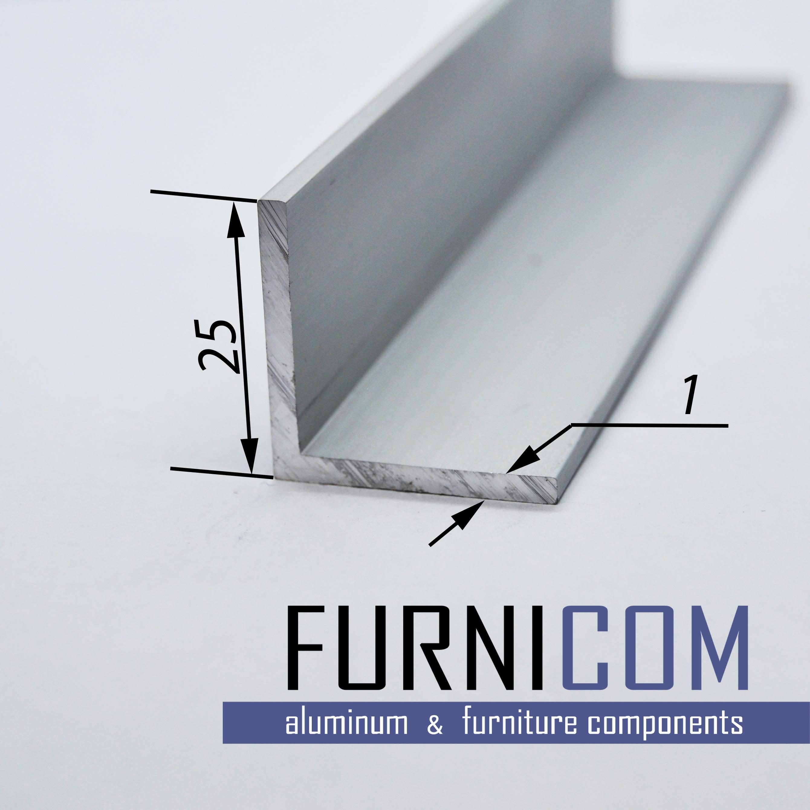 Уголок алюминиевый 25х25х1 / AS