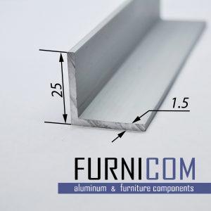 Уголок алюминиевый 25х25х1.5 / б.п.