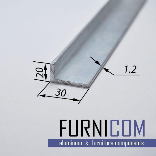 Уголок алюминиевый 30х20х1.2 / AS