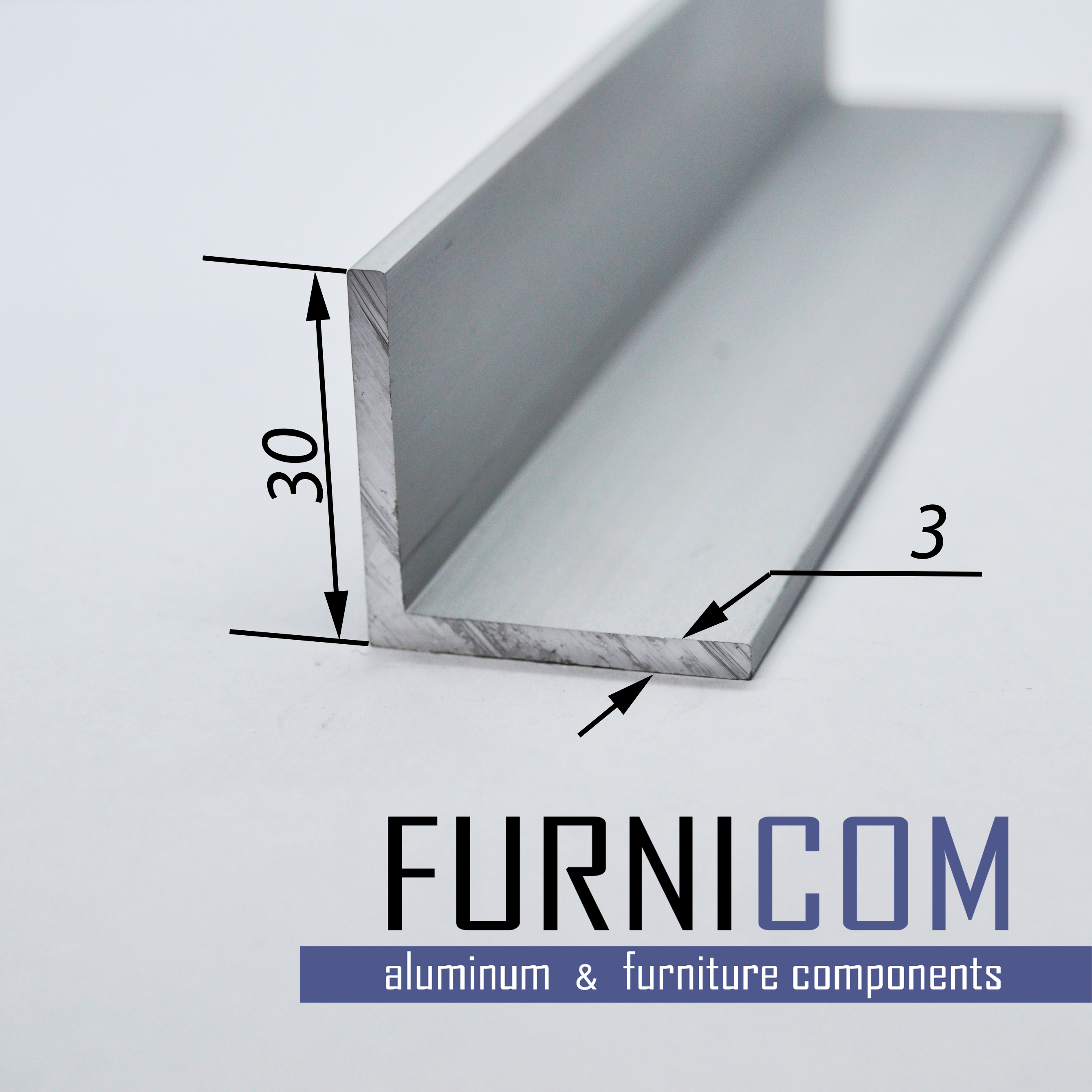 Уголок алюминиевый 30х30х3 / AS