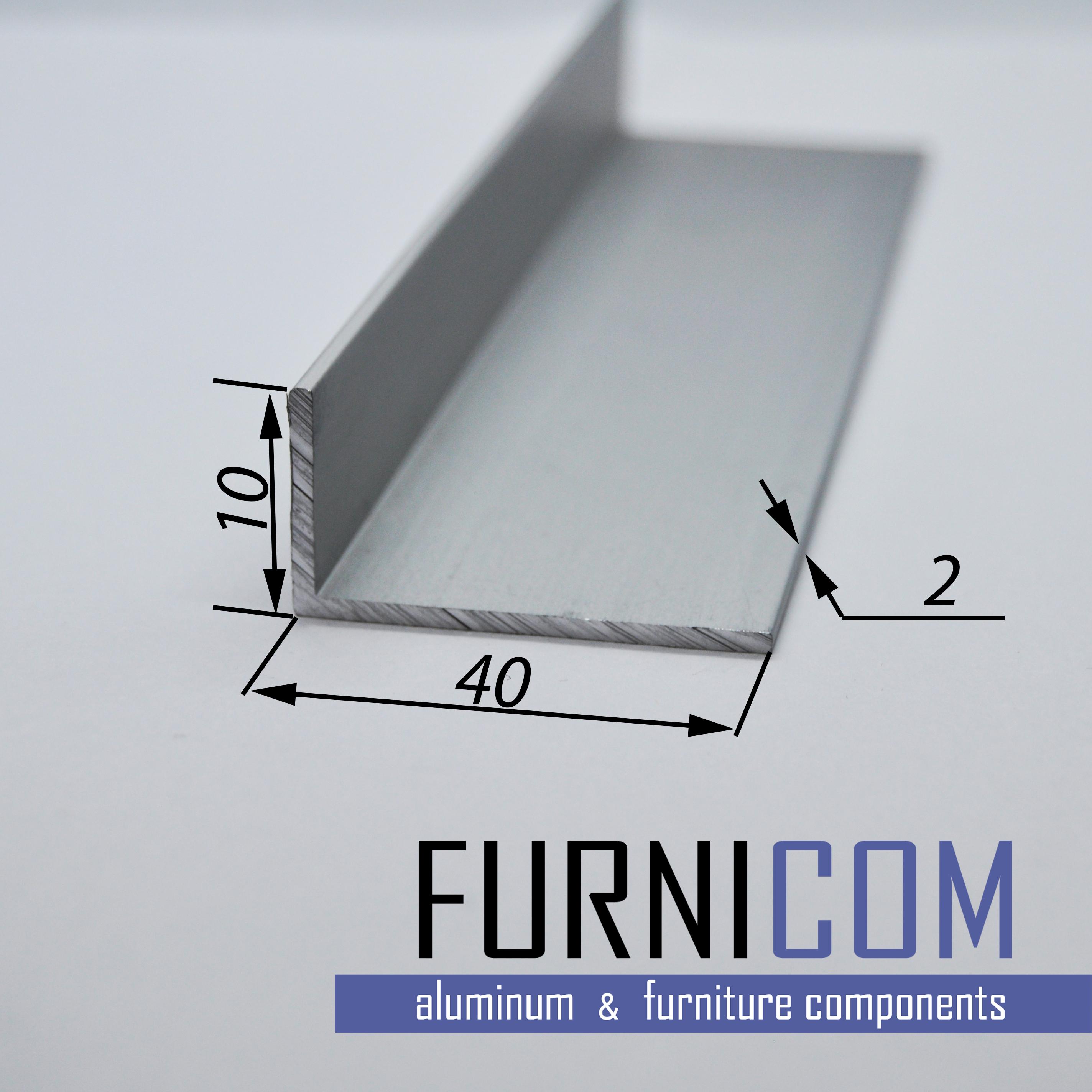 Уголок алюминиевый 40х10х2 / AS