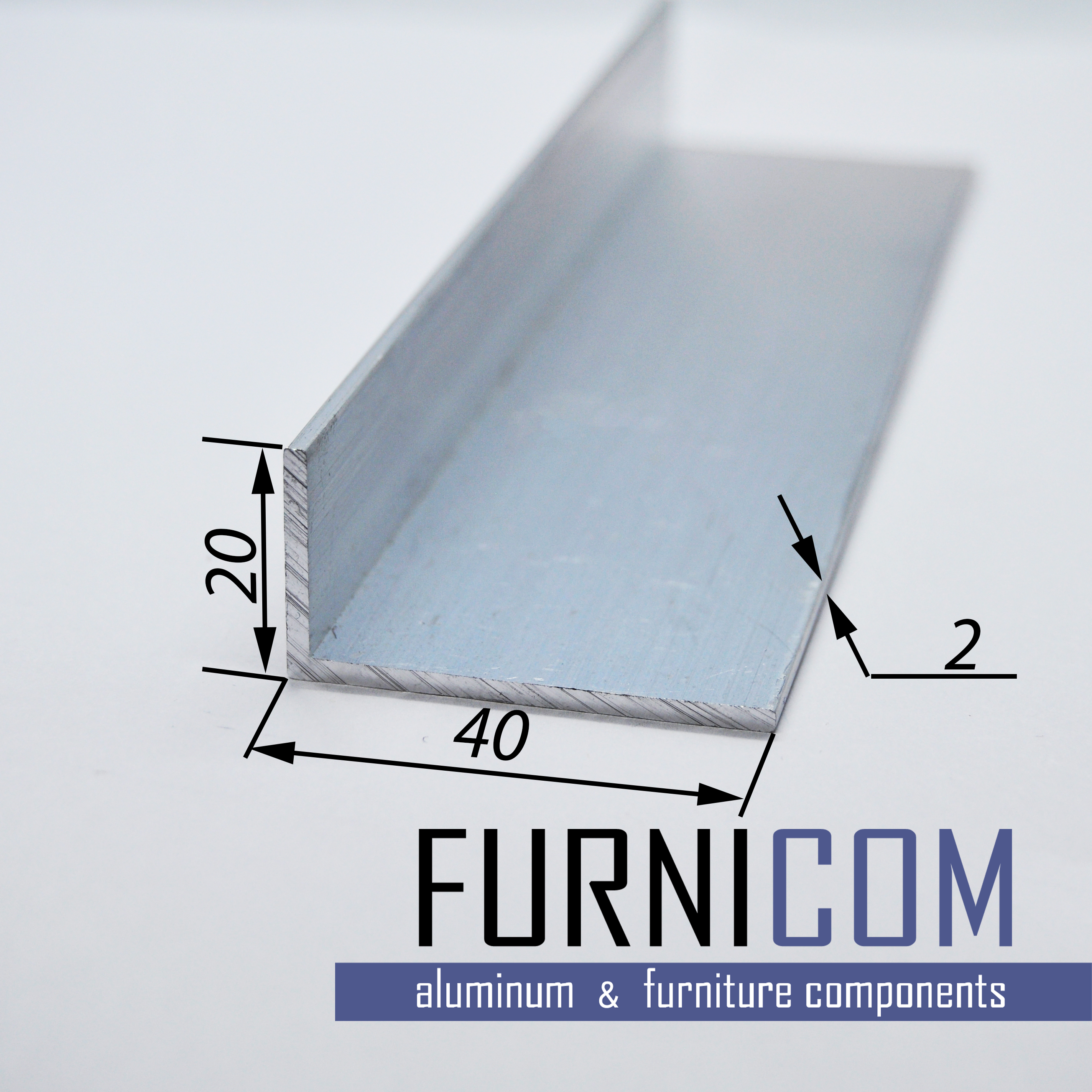 Уголок алюминиевый 40х20х2 / б.п.