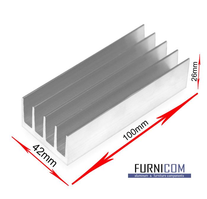 Радиаторный алюминиевый профиль 72х26 / б.п.