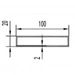 Труба алюминиевая прямоугольная 100х20х2 / б.п.