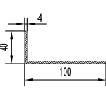 Уголок алюминиевый 100х40х4 / AS