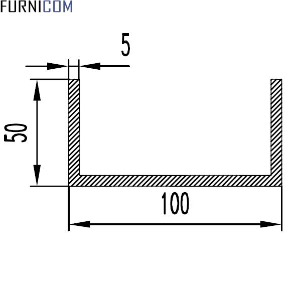 Швеллер алюминиевый 100х50х5 / AS