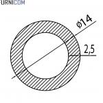 Труба алюминиевая круглая 14х2.5 / б.п.