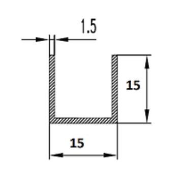 Швеллер алюминиевый 15х15х1.5 / AS