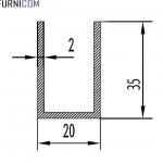 Швеллер алюминиевый 20х35х2 / AS