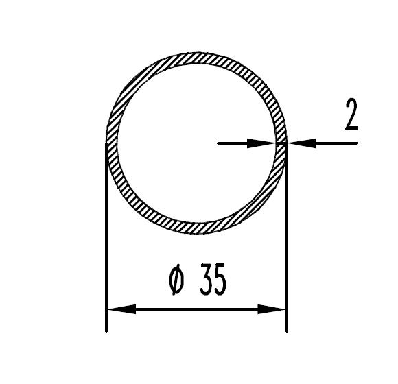 Труба алюминиевая круглая 35х2 / AS