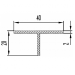 Тавр алюминиевый 40х20х2 / AS