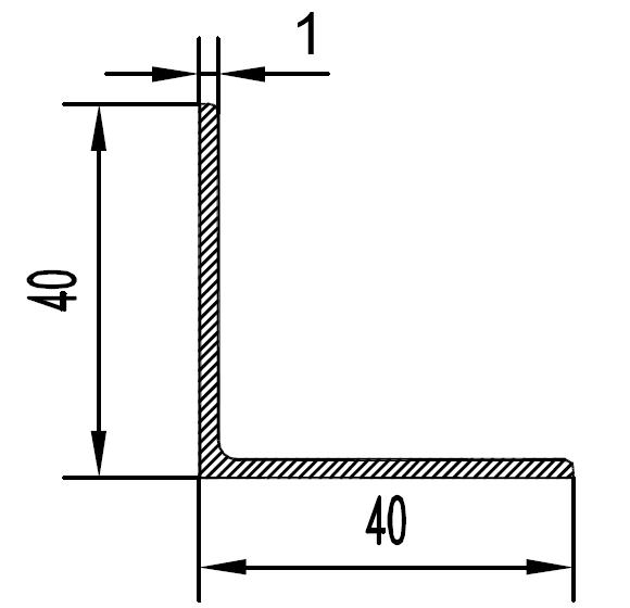 Уголок алюминиевый 40х40х1 / AS