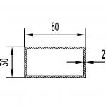 Труба алюминиевая прямоугольная 60х30х2 / AS